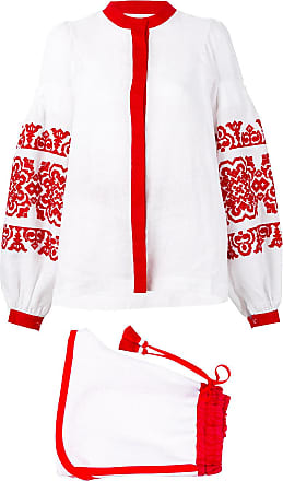 Yuliya Magdych embroidered short and blouse set - White