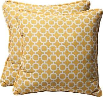 Pillow Perfect Decorative Geometric Square Toss Pillows, 18-1/2L x 18-1/2W x 5 D, Yellow/White