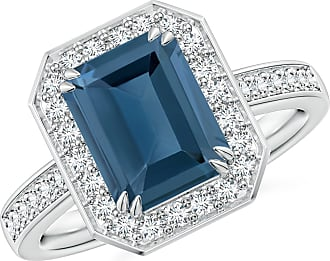 Angara Valentine Day Sale - Emerald-Cut London Blue Topaz Engagement Ring with Halo