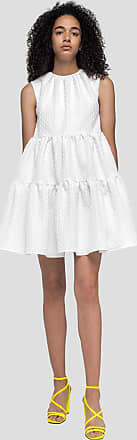 Msgm flounce dress with tonal embroidery detail