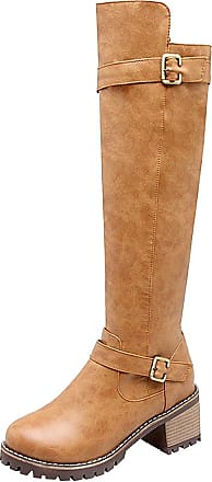 Jamron Womens Western Chunky Block Heel PU Leather Knee High Riding Boots Winter Warm Lining Zip Boots Tan SN021017 UK3.5