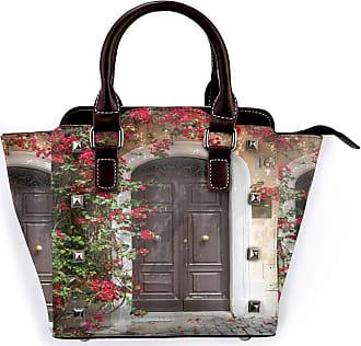 Browncin Moroccan Old Wooden Door Surrounded By Flowers European Medieval Entrance Italy Detachable Fashion Trend Ladies Handbag Shoulder Bag Messenger Bags