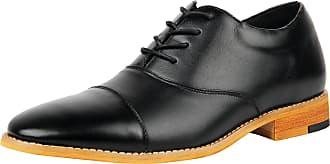 iLoveSIA Mens Comfortable Leather Cap Toe Dress Oxford Shoe Black UK 6.5