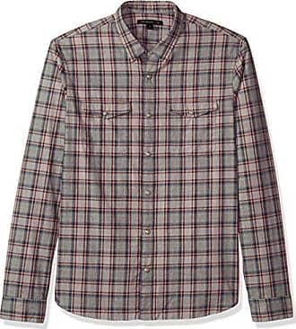 John Varvatos Mens Long Sleeve Western Shirt 63HM, Opal, Extra Large