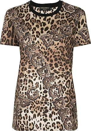 Dolce & Gabbana Camiseta com estampa de leopardo - Marrom