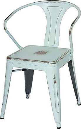 New Pacific Direct Metropolis Metal Arm Chair,Distressed Blue,Set of 4