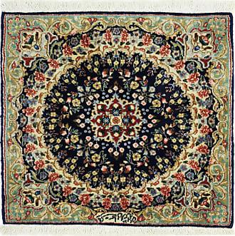 Nain Trading 59x66 Tappeto Orientale Kirman Rafsanjan Sherkat Beige/Blu Scuro (Persia/Iran, Lana, Annodato a mano)