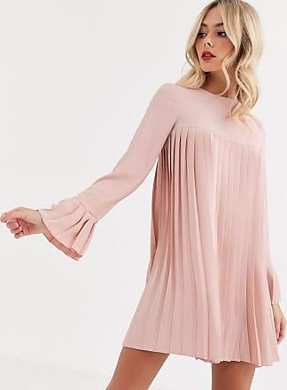 Asos Rosa plisserad miniklänning med långa ärmar