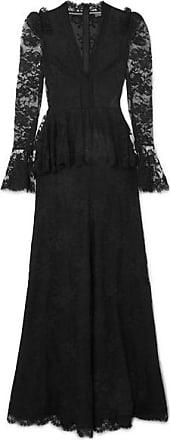 Alexander McQueen Robe Longue Du Soir En Dentelle De Coton Mélangé À Basque  - Noir 73a7caca50b