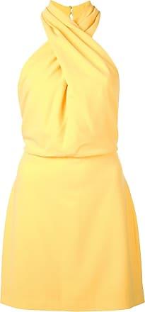 Halston Heritage Vestido slim com a gola cruzada - Amarelo