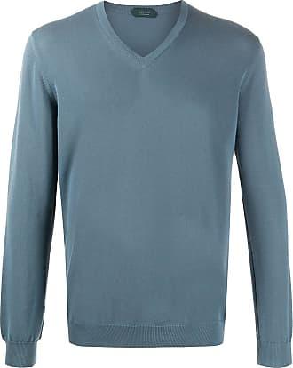 Zanone Suéter gola V de algodão - Azul