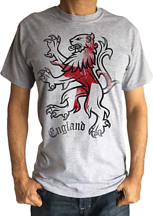 Irony Mens Grey T-Shirt- England Lion St Georges Flag TS119G (XXXLarge)