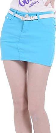 junkai Womens Jeans Mini Skirt Elasticized Denim Pencil Skirt Bodycon Short Tight Skirts Summer Autumn Sky Blue M
