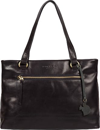 Pure Luxuries London Conkca London Alice Womens 33cm Biodegradable Leather Handbag with Zip Over Top, 100% Cotton Lining and Matching Leather Handles in Navy B176