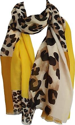 GlamLondon Womens Leopard Print Scarf Multi Coloured Border (BM33-Yellow)