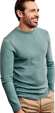WoolOvers Mens Cashmere and Merino Crew Neck Knitted Jumper Blue Lagoon, L