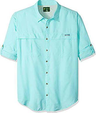 G.H. Bass & Co. Mens Big and Tall Explorer Survivor Long Sleeve Point Collar Fishing Shirt, Aqua Splash, 2X-Large Tall