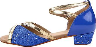 Insun Girls Ballroom Dance Shoes Latin Salsa Performance Shoes Suede Sole Blue 1 11.5 UK Child