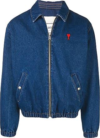 Ami Jaqueta jeans Ami De Coeur matelassê com zíper - Azul