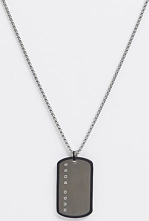BOSS Hugo Boss neckchain in silver with silicone wrapped dog tag