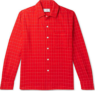 Ami Checked Wool-blend Flannel Shirt - Red