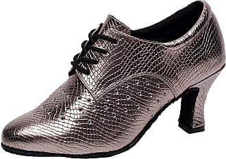 Find Nice Womens Latin Tango Party Kitten Heel Closed-Toe Lace-up Professional Dance-Shoes Grey 3.5 UK