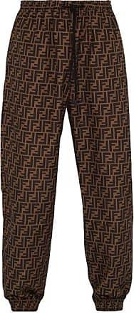Fendi Ff Logo Track Pants - Mens - Brown Multi