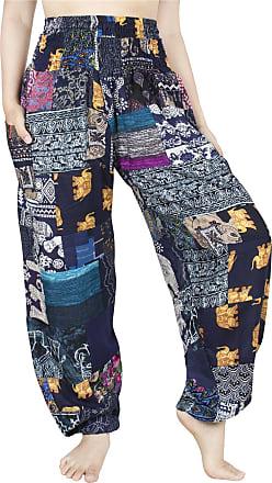 Lofbaz Womens Smocked Waist Floral Rayon Yoga Boho Patch Harem Pants - Blue - OS
