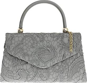 Girly HandBags Girly HandBags Lace Satin Top Handle Clutch Bag Handbag Elegant Weeding Party Vintage Party Designer Inspired Womens Fashion - Grey