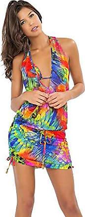 Luli Fama Womens Mundo De Colores T Back Mini Cover Up Dress, Multi, Medium