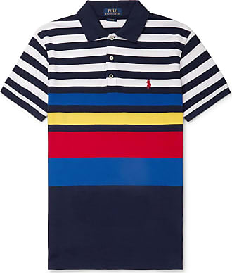 Polo Ralph Lauren Slim-fit Striped Cotton-piqué Polo Shirt - Navy