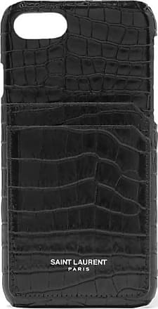 Saint Laurent Croc-effect Leather Iphone 8 Case - Black