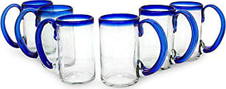 Novica Artisan Crafted Clear Blue Hand Blown Recycled Glass Beer Mugs Glasses, 16 oz. Cobalt Beer (set of 6)