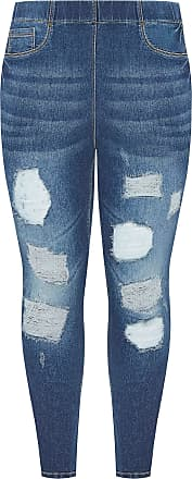 Yours Clothing Clothing Plus Size Ladies Indigo Rip and Repair Jenny Jeans Size 34-36 Blue