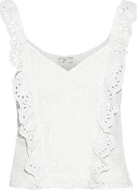 Joie Joie Woman Captina Ruffled Broderie Anglaise Cotton Top White Size 10
