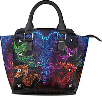 NaiiaN Shoulder Bags for Women Girls Ladies Student Purse Shopping Love Light Weight Strap Handbags Tote Bag Leather Fantasy Sky Phoenix Group Colorful