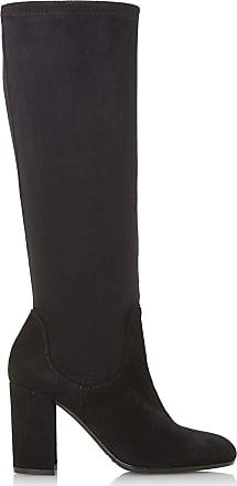 Dune London Dune Ladies Womens Serein Knee High Heeled Stretchy Boots Size UK 8 Black Block Heel Suede Knee High Boots