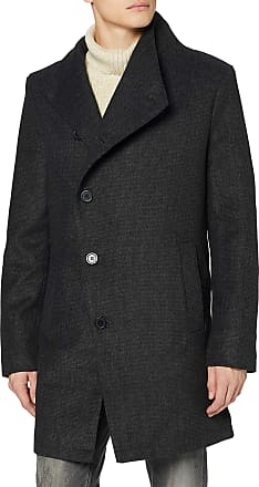 Religion Mens Noirex Trench Coat, Grey (Dark Charcoal 095), X-Large (Size:XL)