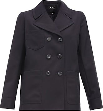 A.P.C. Sailor Double-breasted Gabardine Jacket - Womens - Navy Multi