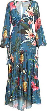 Farm Vestido Decotado Estampado Farm - Azul