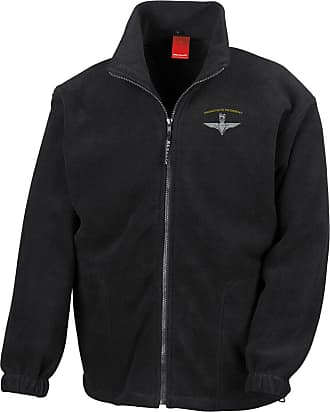 Military Online Parachute Regiment para Wings Embroidered Logo - Official Full Zip Heavyweight Fleece Jacket Black