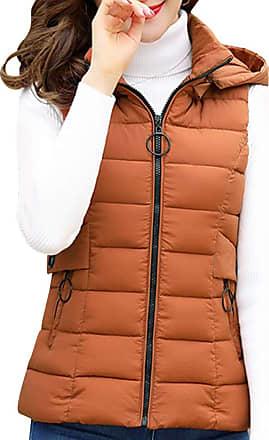 Daytwork Sleeveless Jackets Gilets Women - Womens Winter Warm Vest Quilted Cotton Hooded Coats Short Body Warmer Waistcoat Down Clothing Lightweight Comfy Brow