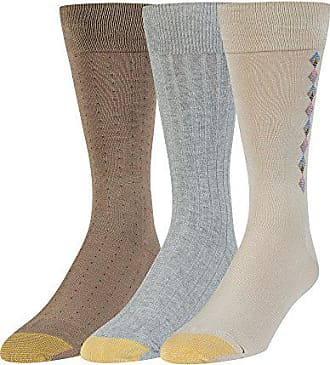 Gold Toe Mens Big and Tall Dress Crew Socks, 3 Pairs, string/grey heather/taupe, Shoe Size: 12-16