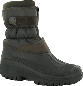 Groundwork Mens (LS87) Velcro Mud Rain Snow Ski Boots Fleece Lining Sizes (7-11) (UK 9, Brown)
