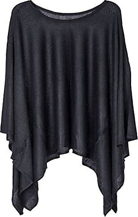 5151c7498d75da styleBREAKER Feinstrick Poncho leicht und Unifarben, Rundhals, Damen  08010047, Farbe:Schwarz