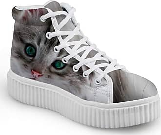 Coloranimal Kawaii Pet Cat Printed High Top Platform Sneakers for Women Men Lightweight Mesh Flats Go Easy Walking Lace Up Flat Shoes