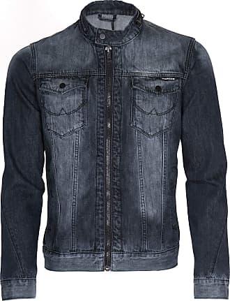 Noroze Mens Denim Biker Jacket Distressed Coat (XXL, Black)