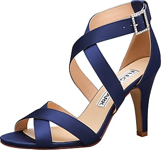 Elegantpark HP1705 Wedding Sandals for Bride High Heels Women Strappy Sandals Peep Toe Buckle Satin Evening Party Wedding Bridal Shoes Navy Blue UK 3(EU 36)