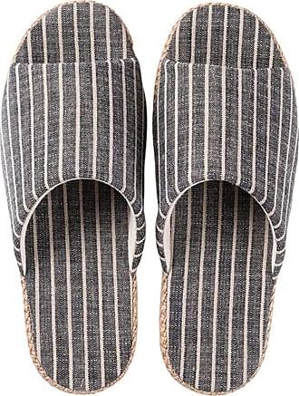 Insun Women Striped Cotton Linen Casual Home Shoes Open Toe Slippers