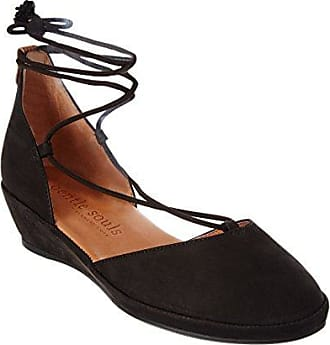 9c907692d465 Gentle Souls by Kenneth Cole Womens NERISSA LOW WEDGE WITH LACEUP POM POM  Shoe